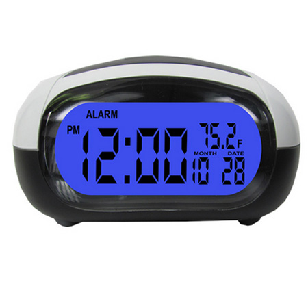 Talking Alarm Clock LCD Date Temp Travel   Digital Backlight Tells Time Temp Black