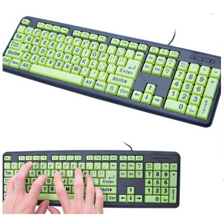 Glowkey Glow-in-the-Dark Keyboard with 4x Larger Lettering and Spill Resistance