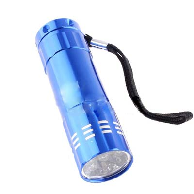 Bright 9 LED Handheld Flashlight Torch Lamp 3-AAA Blue