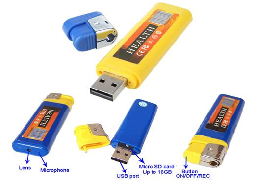 Sound Activated 1280*960/30fps Spy Lighter Camera DVR