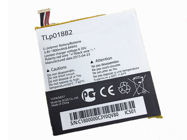 ALCATEL TLP018B2 3.8V/4.35V 1800MAH/6.84Wh